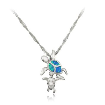 Momma and Baby Turtle Pendant and Necklace