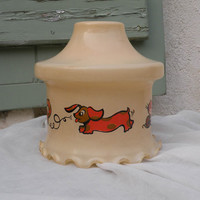 French vintage nursery glass lamp shade. cats and dogs lamp shade. retro lighting lampshade. kids lamp shade, dog lamp shade. cat lamp shade