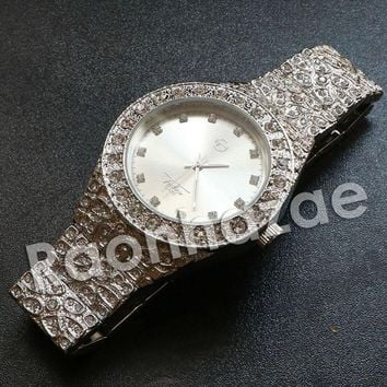 """Iced Out Hip Hop """"Dynamic Duo"""" Silver Techno Pave Nugget Watch"""