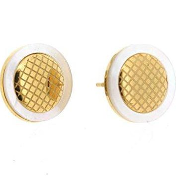 Ben and Jonah Stainless Steel and Gold Plated Stud Earring with Mother of Pearl Border and Inner Honeycomb Design