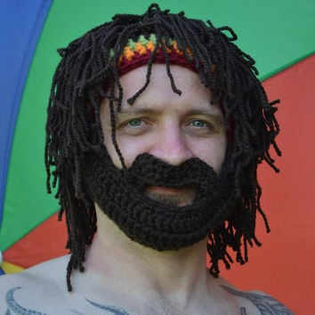 Beard Hat Rasta Hat Bearded Beanie Men's Beanie Beard Hat with Rasta Bandana and Dreadlocks Ski Hat Rasta Beard Beanie Hat
