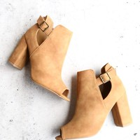 distressed peep-toe booties in more colors