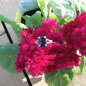 Blueberry Blue Cushion Antique Cut SS Ring