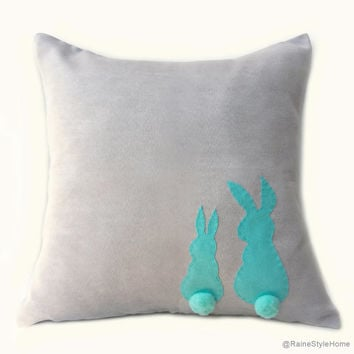 Two Little Lovely Rabbits Light Grey Turquoise Pillow Cover. Gray And Teal Nursery Cushion Cover Nursery Decor. Pom Pom Appliques
