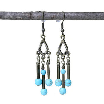 Long Dangling Antiqued Brass Turquoise Boho Style Earrings