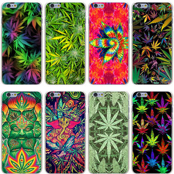 Weed Leaf Hard Transparent Cover Case for iPhone 7 7 Plus 6 6S Plus 5 5S SE 5C 4 4S