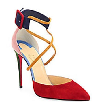 Christian Louboutin - Veau Velours Multi-Strap Pumps - Saks Fifth Avenue Mobile