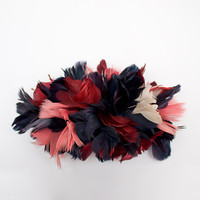 Dark red, blue and pink hair comb Fascinator made with Feathers