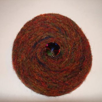 Needle Felted Wool Brooch Pin with Vintage Sew On Crystal Earth Tones