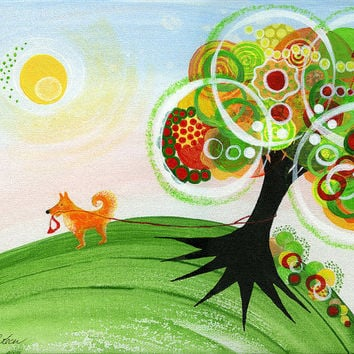 Happy Dog Print, 8 x 10, Dogs, Pets, Holding On Tree, Sunshine, Green, Red, Orange, Yellow, Rainbow, Nature, Circles, Kids, Decor, Happiness