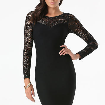 bebe Womens Emma Lace Detail Dress