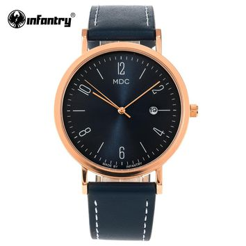 MDC Fashion Women Watches Rose Gold Blue Leather 2018 Calendar Quartz Watch Woman Luxury Dress Ladies Watch Montre Femme