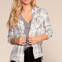 One Way Plaid Flannel Shirt - Gray