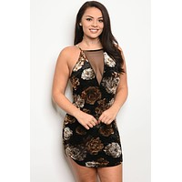 Plus SIze Floral Velvet Dress