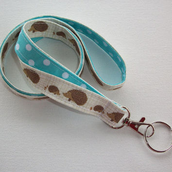 Lanyard  ID Badge Holder - Hedgehogs  - Lobster clasp and key ring - 2 toned white polka dots on aqua