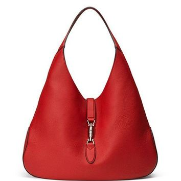 CREYIX5 Gucci Jackie Soft Leather Medium Hobo Bag, Re