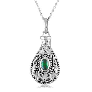 Sterling Silver May CZ Birthstone Tear Ash Holder Necklace, 18 Inch
