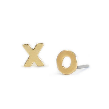 Kris Nations XO Stud Earrings Gold Plated & Sterling Silver