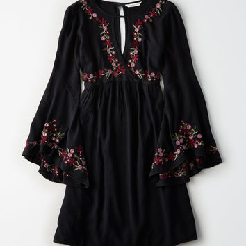 AE Embroidered Surplice Bell-Sleeve Dress, Black