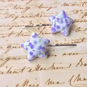Two vintage style hair slide made from purple floral fabric - fabric covered retro style hair accessories hair accessory etsy England