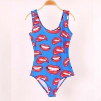 Blue Red lips all Over 3D Print One Piece Swimwear Swimsuit