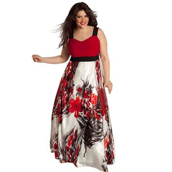 plus size women floral printed long evening party prom gown formal dresscasual elegant jupe