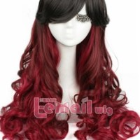 70cm Gothic Classical Rainbow Mix Color Cosplay Costume Party Hairwig (C52 Mix Black Wine)