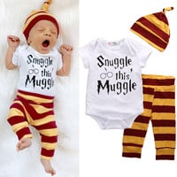 3PCS Set Newborn Baby Boys Girls Clothes Set Tops Rompers Cotton Pants Leggings Hat Outfits Clothing Baby Boy 0-18M