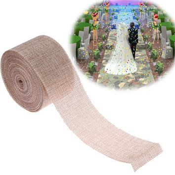 Burlap Ribbon 5cm*9.5M Vintage Wedding Centerpieces Decoration Sisal Lace Trim Jute Hessian Rustic Event Party Cake Supplies