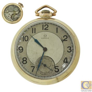 Vintage Omega Case 8702282 Gold Plated Arabic Numeral 7815674 Pocket Watch 46mm