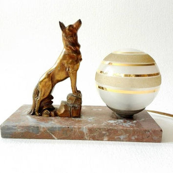 Art deco, lamp, french vintage, dog art, french style, french decor, Antique lamp, desk lamp, table lamp, lampshade, wolf art, lighting.