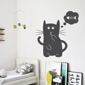 Wall Decor Vinyl Sticker Room Decal Cat Animal Nursery Fish Child Kid Baby Mustache Funny Cute Thought Think Cloud (s171)