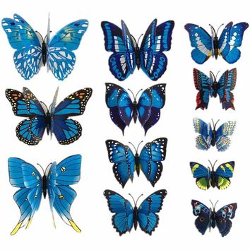 12 Pcs/Lot PVC 3D Magnet Butterfly Wall Stickers Butterflies Decors for Wedding Party Home Kitchen Fridge Decoration K0029