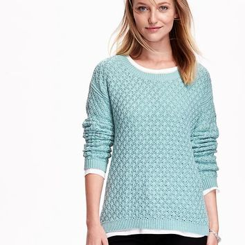 Old Navy Womens Popcorn Stitch Sweater