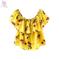 Yellow Floral Off Shoulder Chiffon Blouse Crop Top Short Sleeve Casual Sexy Streetwear Clubwear 2016 Summer Women Clothing