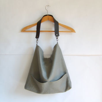 Linen tote bag, Hobo tote bag, Graffiti grey bag with lether strap, grey tote, casual tote bag, simple tote purse