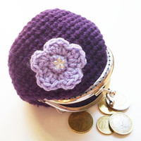 Crochet purple coin purse with lilac flower, flower rhinestone, silver tone kiss clasp, metal framef