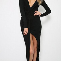 Black V-Neck Long Sleeve High-Low Hem Dress