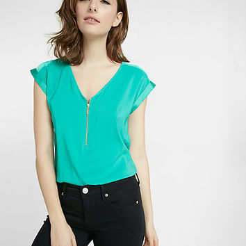 silky zip front rolled sleeve blouse