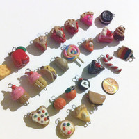 Assorted Polymer Clay Food Charms - 25 Pieces, Polymer clay food, food charms, jewelry making, handmade charms, kawaii, assorted charms,