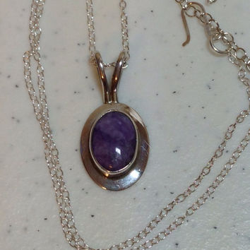 Vintage Amethyst Sterling Silver Pendant on Adjustable Sterling Silver Chain