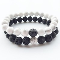 Lovers Yin Yang Distance Bracelets Natural  Lava stone Howlite Bead Bracelets For Women Men Couples Jewelry
