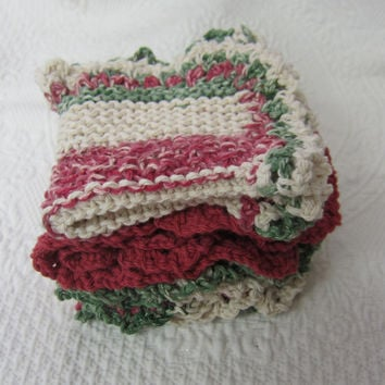 Knit Dishcloth/Washcloth/Dish Rag/Wash Rag Set of three Made with 100% Cotton Yarn in Christmas Color's Ready to ship