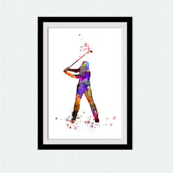 Golf player poster Golf player print Golf watercolor illustration Home decoration Living room wall art Sport colorful poster Wall decor W392