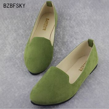 BZBFSKY - 2017 Classy Solid Candy Color Ladies Flats*