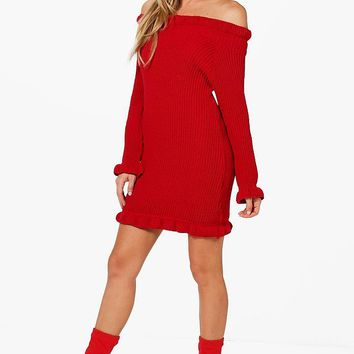 Erin Ruffle Hem Knitted Dress | Boohoo