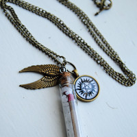 Supernatural Salt & Burn Necklace - Demon Protection, Angel Wings, Bottle Necklace