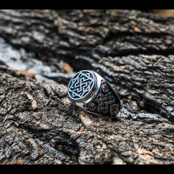 Handcrafted Ring with Valkyrie Symbol Sterling Silver Pagan Jewelry