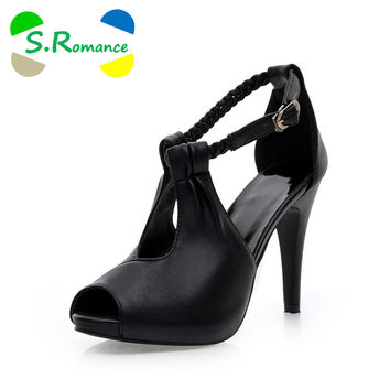 S.Romance Plus Size 30-43 New Arrival Hot Fashion Office Summer Women Pumps High Heel Sandals Casual Women Shoes Black SS220