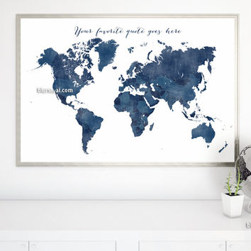Custom quote - printable world map with countries in navy blue and distressed texture. Color combo: Richard